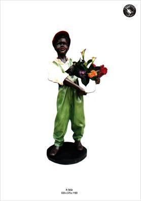 "Figur ""Blumenjunge "" Höhe 110cm"