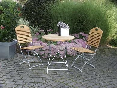 Biergartengarnitur Baden baden verzinkt bestehend aus 1 Tisch rund 77cm + 2 Stühle ohne Armlehnen