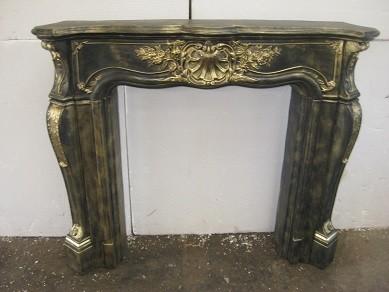 """Kaminumrandung """" Barockstil """" Kaminverkleidung Farbe Bronze mit Gold Breite 140cm"""