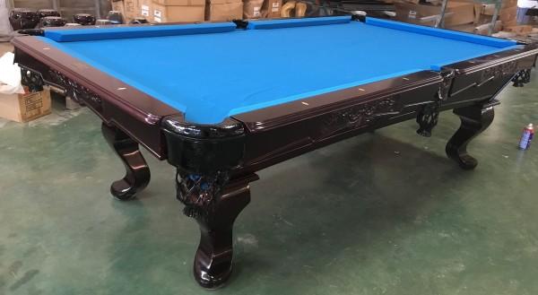 8 Ft. Tunierbillard Modell Webster Gestellfarbe Mahagoni Tuchfarbe Blau