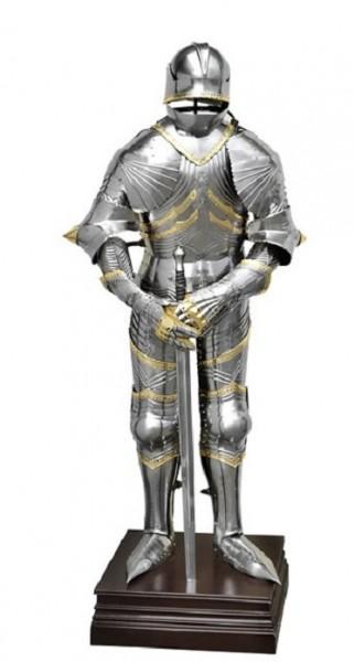 Gotische Ritterrüstung Modell Prunkrüstung Maximillian II. mit Messingeinlagen Höhe ca. 195cm