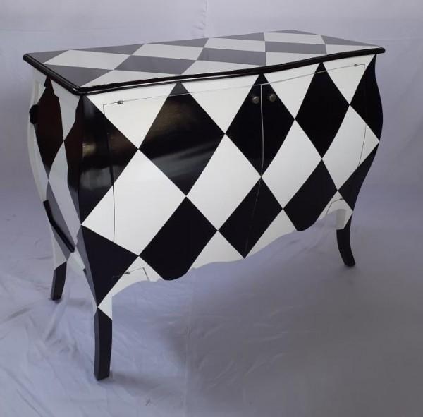 Antike Barock Rokoko Louis Kommode Sideboard 2-türig Breite115cm schwarz/weiß