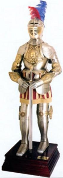 """Ritterrüstung """"Modell Henry Prunkrüstung"""" mit getriebenen Motiven Höhe 190cm"""