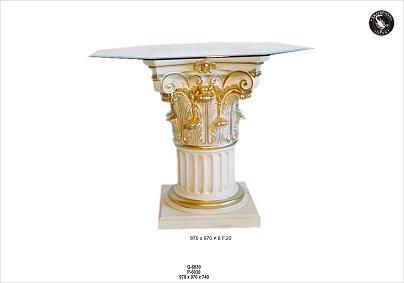 Säulentisch mit Glaspalatte 8 Eckig Breite97x97cm Höhe74cm