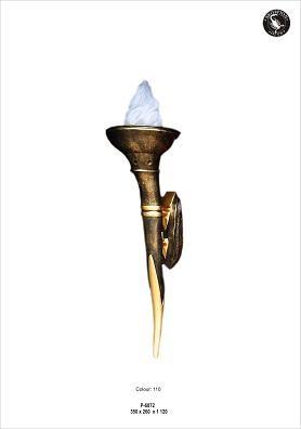 Fackelwandlampe mit Flammenglas, Höhe112cm