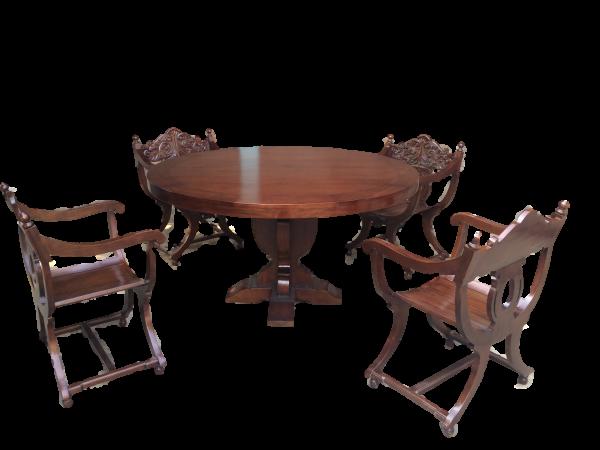 Rittertafel mit rundel Tisch 150cm + 6 Stück Scherenstühle
