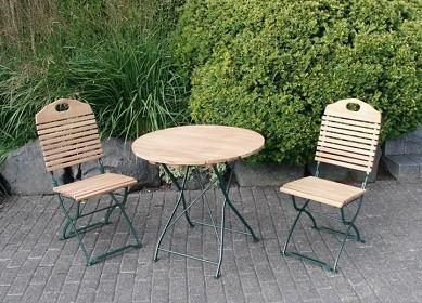 """Biergartengarnitur """"Baden Baden"""" pulverbeschichtet Farbe grün, bestehend aus 1 Tisch rund 77cm + 2 S"""