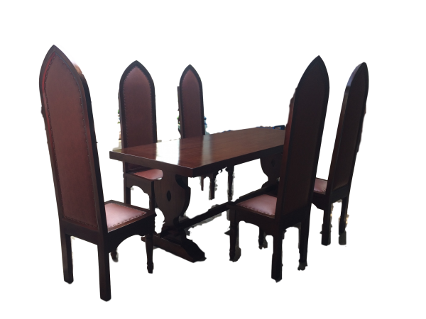 Rittertafel mit langem Tisch 220cm + 8 Stück Ritterstühle