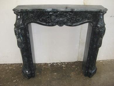 "Kaminumrandung "" Rokoko "" Kaminverkleidung Cararablueperl marmoriert Breite115cm"
