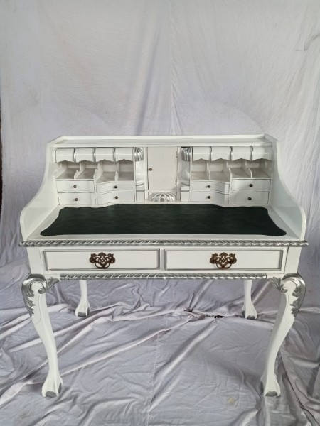 Antiker Barock Rokoko Louis Seize Sekretär Schreibtisch Breite102cm weiß/silber