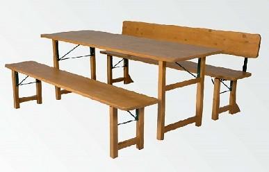 """Klappgarnitur """" Bavaria III. """" mit einklappbaren Bankrückenlehne u. Massivholzplatten Länge 200cm"""