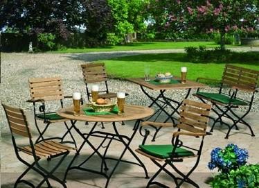 """Biergartengarnitur """" Burggraben"""" mit 2 Sessel + 1 Sitzbank mit Armlehnen + 1 Tisch Eckig"""