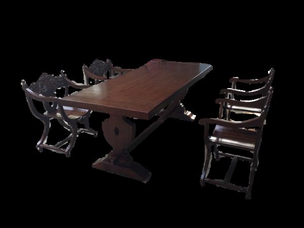 Rittertafel mit langem Tisch 220cm + 6 Stück Scherenstühle