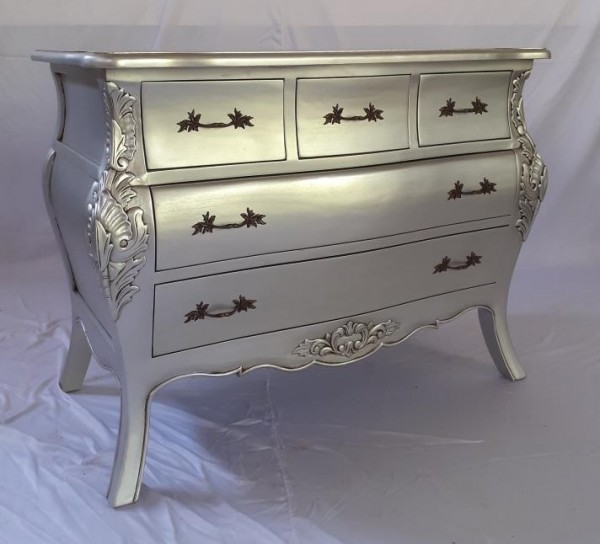 Antike Barock Rokoko Louis Kommode Sideboard Farbe:Silber Breite105cm