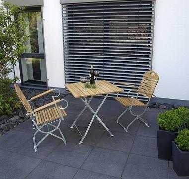 """Biergartengarnitur """"Baden Baden"""" verzinkt, bestehend aus 1 Tisch eckig 70x70cm + 2 Stühlen mit Armle"""