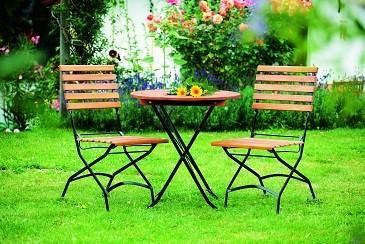 """Biergartengarnitur """" Burggraben """" mit 2 Stühle + 1 Tisch rund"""