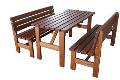 """Biergartengarnitur """" Brauhaus"""" aus massivholz 40mm, 3- teilig bestehend aus 1 Tisch + 2 Bänke"""