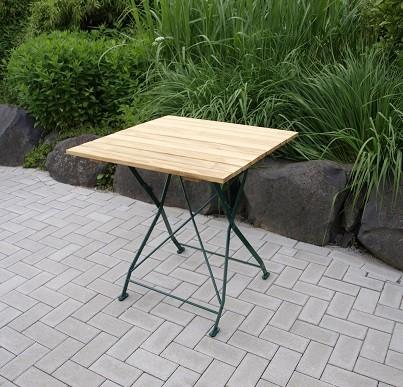 Biergartentisch eckig 70x70cm pulverbeschichtet Farbe grün passend zu Garnituren München und Baden B