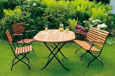 """Biergartengarnitur """"Burggraben"""" mit 4 Stück Sessel mit Armlehnen und Tisch oval"""