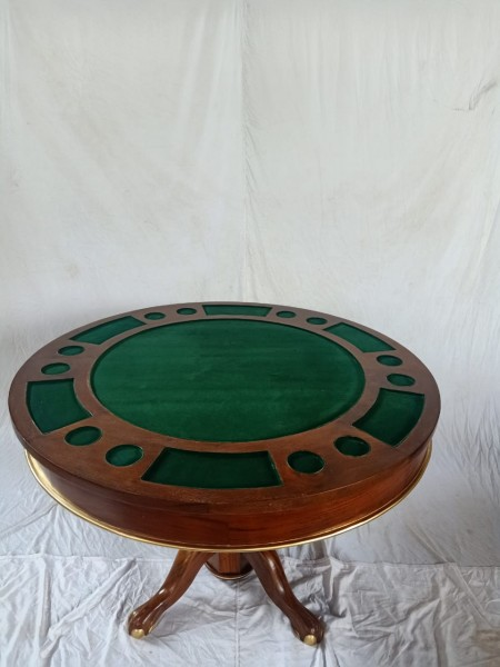 Pokertisch/Esstisch /2Versionen in einem Tisch rund 120cm Holz, durch drehen oder abnehmen der Tisch