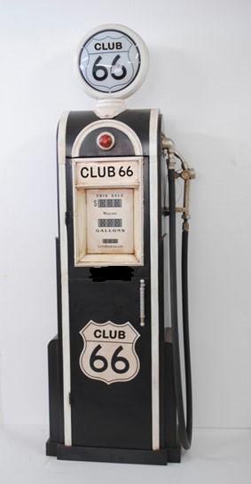 """Tanksäule Zapfsäule """" Club 66 Blackwhite"""" Höhe 180cm mit beleuchtetem Globe"""