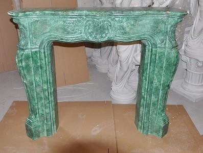 """Kaminumrandung """" Barockstil """" Kaminverkleidung Cararasmaragdgrün Farbmarmoriert Breite140cm"""
