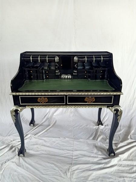 Antiker Barock Rokoko Louis Seize Sekretär Schreibtisch Breite102cm schwarz/silber
