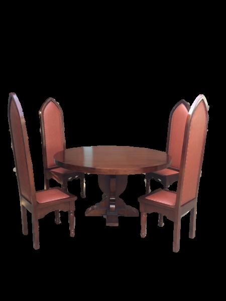 Rittertafel mit rundem Tisch 150cm + 8 Stück Ritterstühle