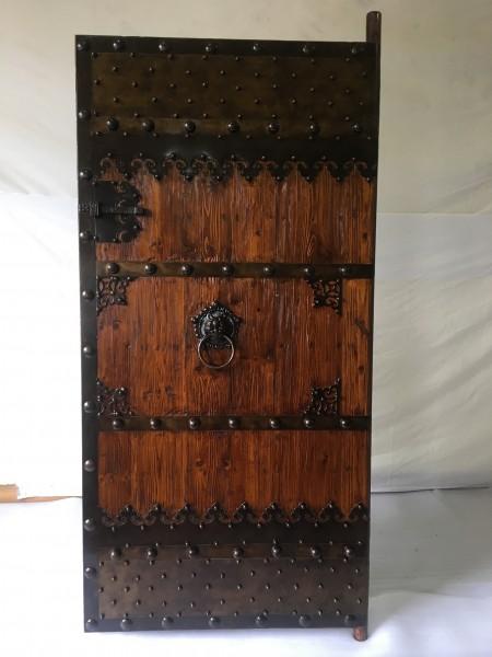Antike Mittelaltertür Eingangstür Massivholz Breite100cm x Höhe200cm mit Eisenbeschlägen
