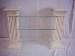 Säulenregal mit 3 Glasplatten Breite140cm