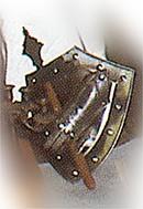Schutzschild mit einen Eisenhandschuh auf dem Schutzschild