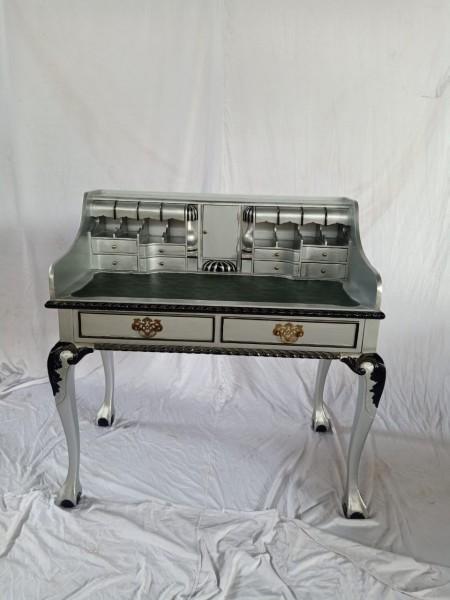 Antiker Barock Rokoko Louis Seize Sekretär Schreibtisch Breite102cm Silber/schwarz