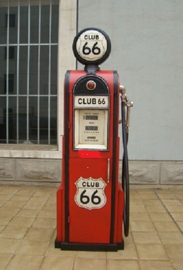 "Tanksäule Zapfsäule ""Club 66 "" Höhe 180cm mit beleuchtetem Globe"