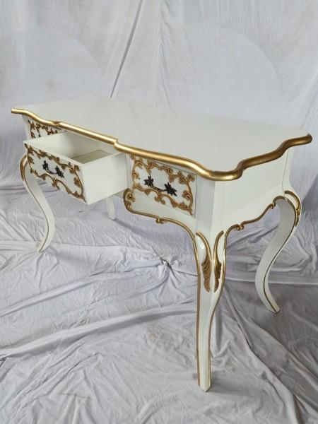 Antiker Barock Rokoko Louis Seize Sekretär Schreibtisch Breite122cm Farbe: weiß mit gold
