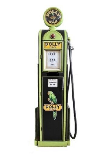"""Tanksäule Modell """"Pollygas"""" Höhe 180cm mit Globe als Uhr"""