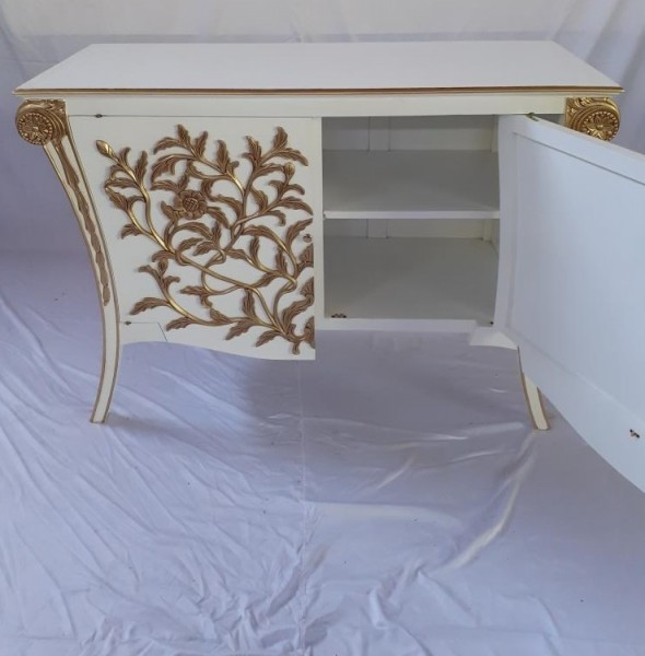 Antike Barock Rokoko Louis Kommode Sideboard 2-türig weiß/gold Breite115cm