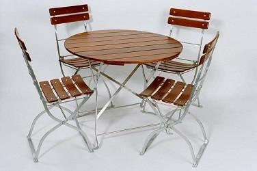 Biergartengarnitur Modell Brauerei bestehend aus 1 Tisch rund 90cm + 4 Stühle , 1 A Brauereiqualität
